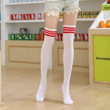 Multiple Colors Girl's Fashion And Sweet Cotton Long Style Stocking Thigh Over Knee Legging Stockings Cheerleader  Stripe On Top