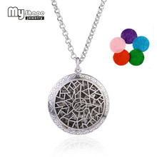 my shape Fashion Jewelry Round Complicated Figure Locket Pendant With Colorful Perfume Pads Essential Oil Diffuser Necklace