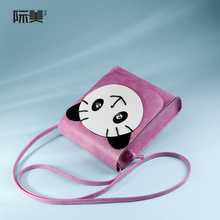 PU leather cartoon panda printing money pouch women coin purse change wallet crossboday bags female carteira feminina for girls