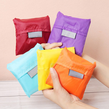 2016 New Square Pocket Shopping Bag Candy 7 colors Available Eco-friendly Reusable Folding Handle Polyester Bag