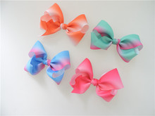 50pcs/lot 2017 Hot sell iridescent rib bow twist hair barrette clips 12cm 5inch children hairpin 16 colors