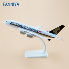 20cm Air Singapore Airlines Airbus 380 A380 Airplane Model Airways w Stand Metal Plane Model Aircraft Kids Gift(China)