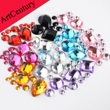 1000pcs Mixed Sizes and Shapes Many Colors Round Resin Loose Flatback Rhinestone Nail Art Crystal Stones For Wedding Decorations