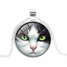 Famous Brand Jewelry with Silver/Bronze Plated Glass Cabochon Cat Shaped Stement Pendant Choker Necklace for Women Gift(China)