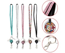 10pcs Retractable Bling Crystal Rhinestone Lanyard Neck Strap Badge Reel for Business ID Card Badge Holders