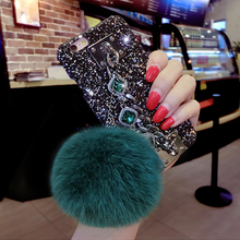 Glitter Hard Case for Iphone 8 Vivo X7 X9S Y66 Y67 OPPO R9 R11 Plus Women Luxury Fuzzy Ball Retro Jewel Stone Lanyard Case Cover(China)