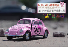 Cute 1pc 12cm Children's toy cartoon cat car alloy model pulls the beetle toy birthday gifts