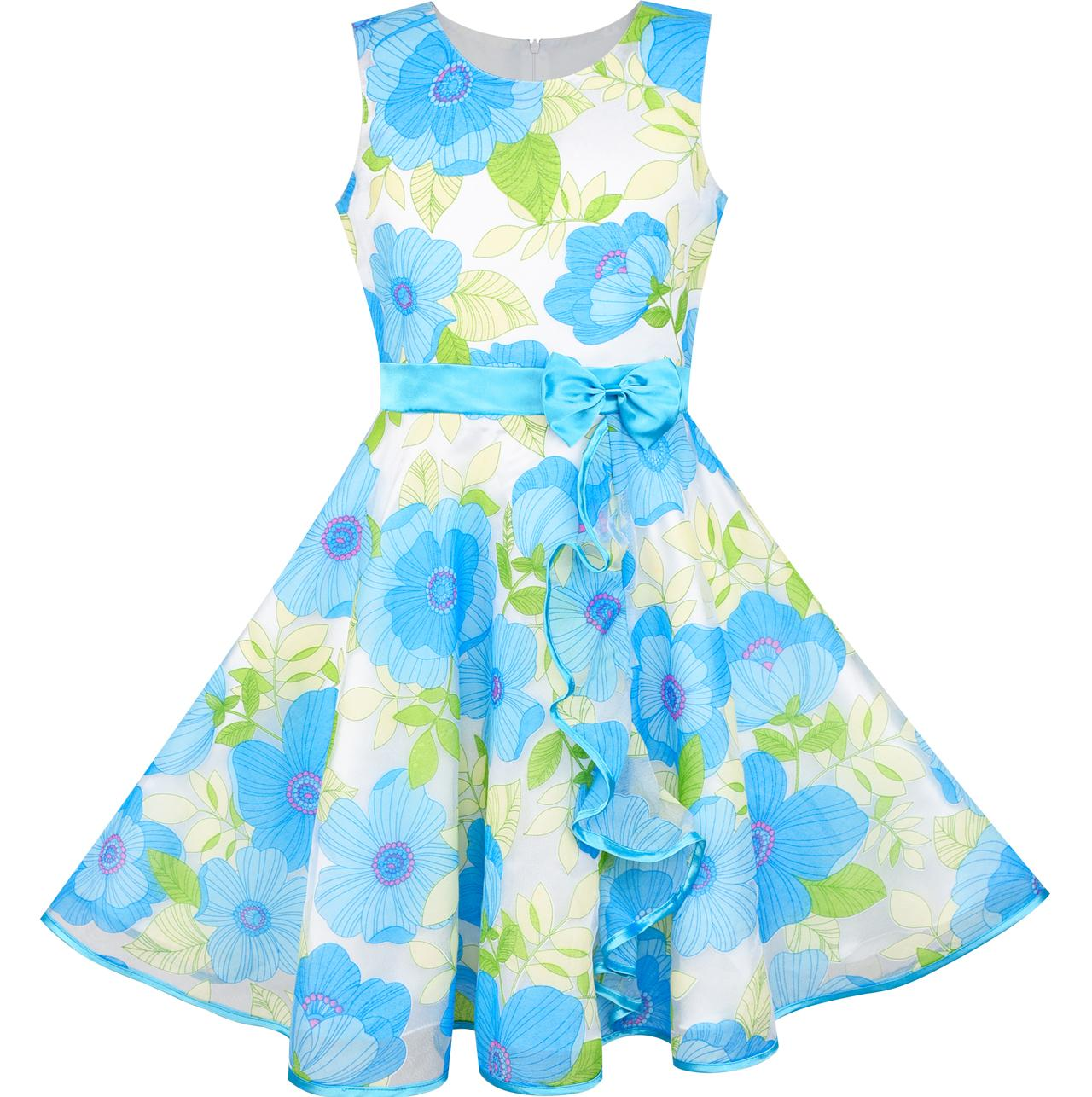 Girls Dress Blue Flower Bow Tie Tulle Party Princess 2018 Summer Wedding Dresses Kids Clothes Size 4-12 Pageant Sundress<br>