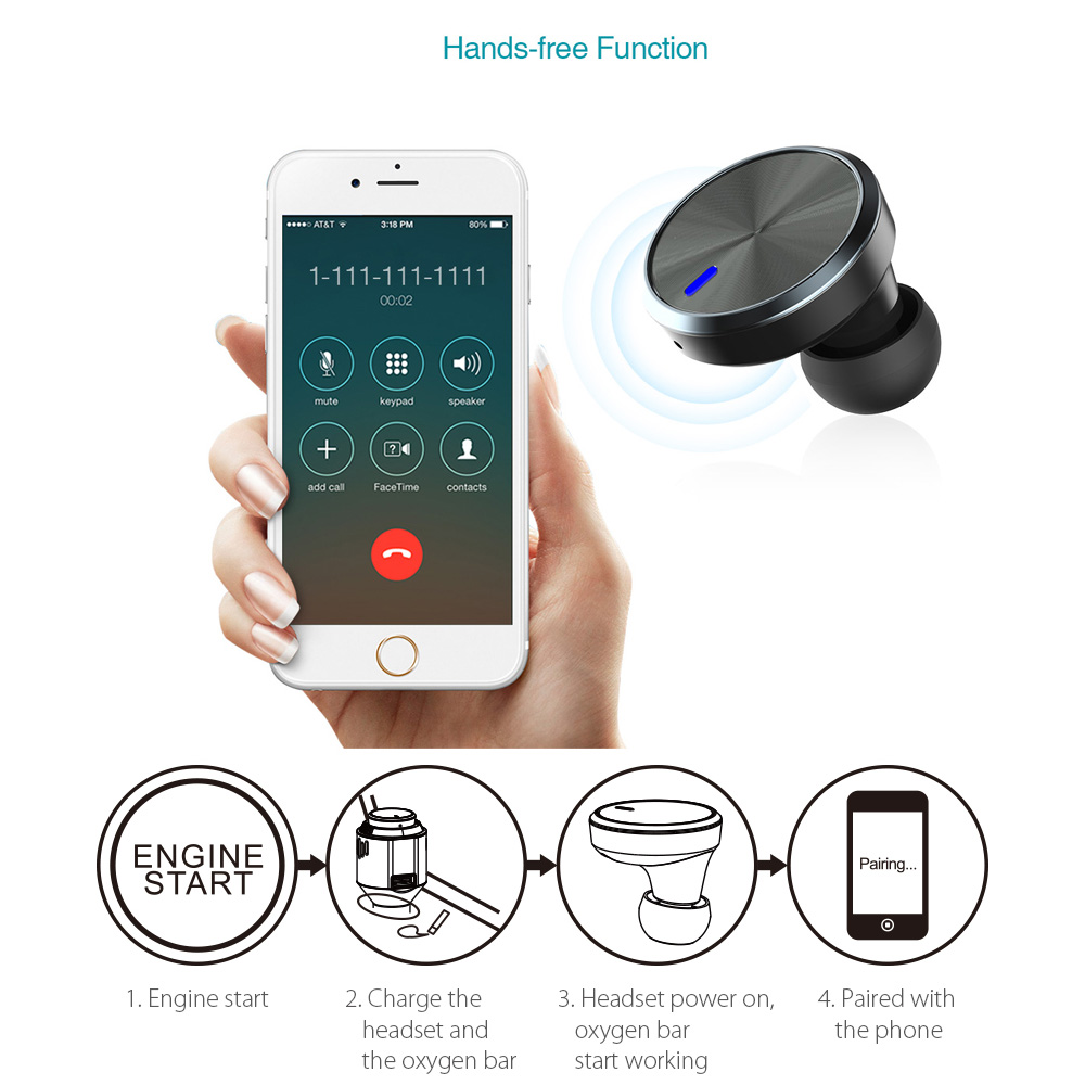 3 in 1 Multi-Functional Car Charger with Wireless Hands Free Bluetooth Earbud Earphone Headset Air Purifier Oxygen Smart Phone