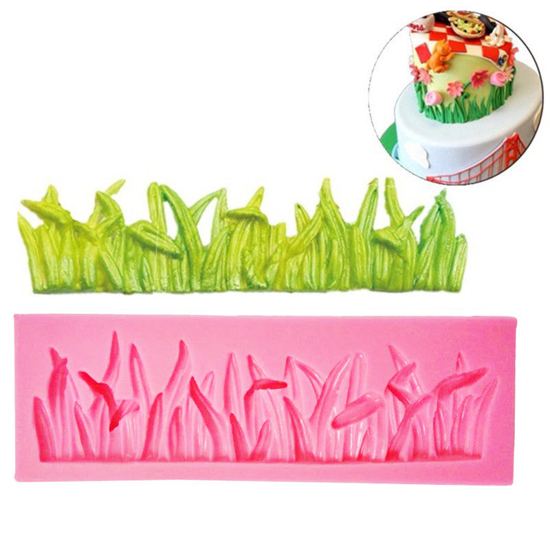Mayitr Green Grass Lawn Silicone Cake Molds Mould Fondant Chocolate Cake Decor DIY Wedding Baking Tools 12 x 4 x 1.3cm