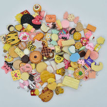 100pcs/lot hot sale Mix Assort cake cookie Icecream fruit chocolate etc Charm Pendants Resin Flat Back Scrapbook Buttons Craft(China)