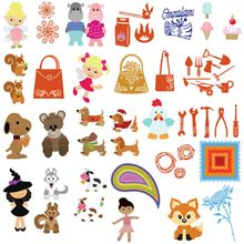 1PC New Metal Squirrel/Bee/Girl/Dog/Hippo/Fox Cutting Dies Stencil DIY Scrapbooking Album Decoration Paper Card Embossing Craft