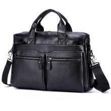 "Black Men Genuine Leather Handbags Large Leather 15"" Laptop Messenger Bags Business Men's Travel Bags Shoulder Bags Briefcase"