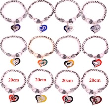 bird Ravens Cowboys Steelers Broncos Texans Giants dolphins Green Bay New Orleans Saints Cardinals heart bracelet(China)