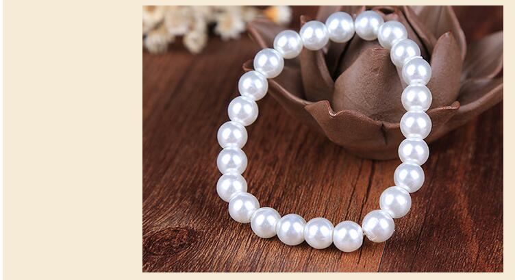 Faux Pearl Crystal Choker Necklace Earring Bracelet Jewelry Set (White) (5)