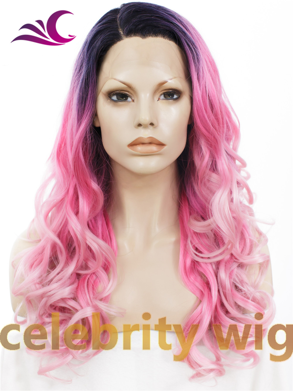 Cosplay&amp;drag queen&amp; celebrity wig dark root ombre pink wavy 24 long fashion hair synthetic lace front  side parting wig <br><br>Aliexpress