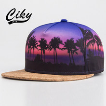 New Fashion Adult Novelty Baseball cap Boy Girl Flat-brimmed Gorras Snapback Outdoor 3D Printed Coconut Tree Hip Hop Hat B-182