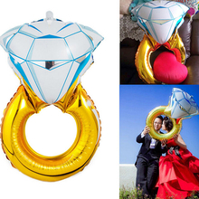 1Pcs Brand new Diamond Wedding Ring Engagement Foil Balloons Wedding Festival decorated aluminum balloons Wholesale