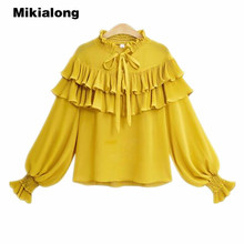 Buy Mikialong Vintage Lace Ruffle Blouse Women 2018 Spring Long Lantern Sleeve Yellow White Chiffon Shirt Plus Size Ladies Tops for $14.73 in AliExpress store