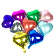 wholesale 50 pcs/lot luminum foil balloon 10 inch star heart wedding birthday party wedding Market hotel supplies air balloons(China)
