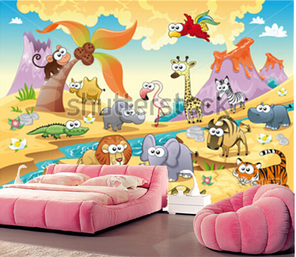 Custom papel DE parede infantil,grassland animal families murals for children room, bedroom wall waterproof wallpaper male girl <br>