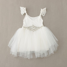 2016 Baby Dresses with Diamond Belt White Tulle Lace Beading Princess Tutu Dress For Wedding Birthday First Communion Dress