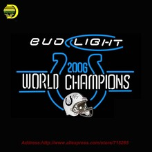 Bud Light with NFL Neon Sign World Champion Neon Bulb Glass Tube Handcrafted Neon Lamp Eye Catch Glass Neon Lights Indoor 30x24(China)