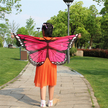 Soft Scarf Kid's Butterfly Wings Print Shawl Fairy Ladies Nymph Pixie Costume Accessory Girls And Boys Scarf Bufandas(China)
