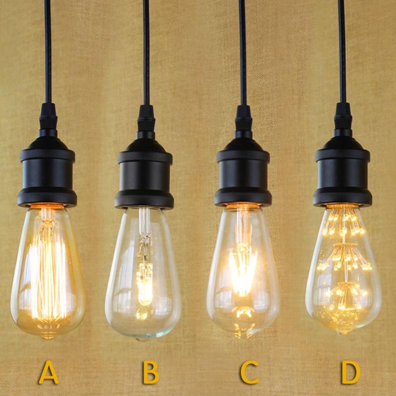 E27 Black Simple Vintage Retro Filament Pendant Light For Bar Cafe Living Room Decoration Eddison Bulb Kits<br><br>Aliexpress