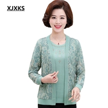 XJXKS Middle-aged women outerwear sweater autumn new 2017 mother clothing plus size S-XXXL cashmere sweater cardigan twinset Set