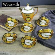 Wourmth 15pcs coffee cup set coffee pot coffee jug cup saucer set Porcelain coffee set bone china flower design embossed outline