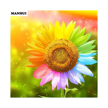 Diy diamond painting Cross stitch Colorful Sunflower Needlework 3d square drill mosaic Diamond Embroidery BSF004(China)