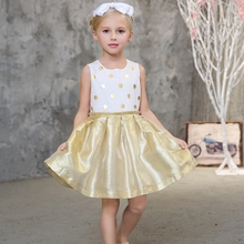 Hot Sale 2017 Summer girls dresses for party and wedding Dot print Princess Kids Dress Fashion Girls Clothing