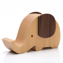 Cute Elephant Wooden Multifunctional Pen Pencil Organizer Holder Box Case Accessories Container Mobile Phone Office Supplies