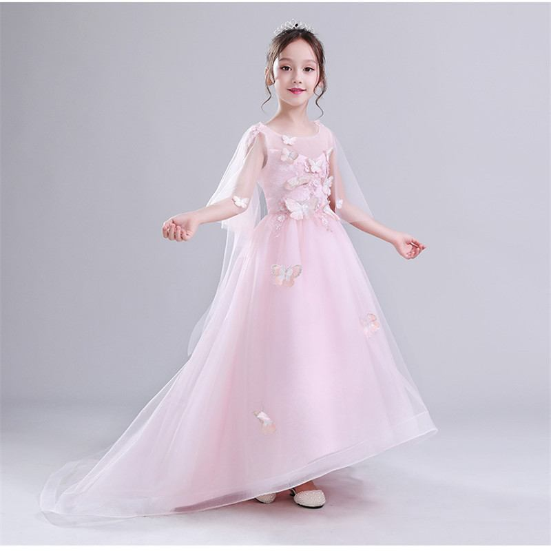 2019 Kids Girl Lace Trailing Party Dress Teen Girl Wedding Bead Butterfly Prom Gown Children Backless Mesh Princess Vestido Q451
