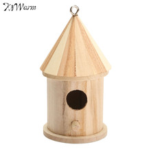 Kiwarm Wooden DIY Bird House Birdhouse Hanging Nest Nesting Box Craft For Home Garden Decoration Holiday Gift Ornament