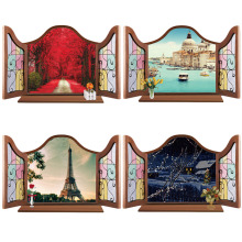 Wholesale Cheap Wall Stickers European False Window Scenery Home Decor Decal Mural Removable Wall Sticker Adesivo de Parede(China)