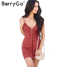 Buy BerryGo Lace suede sexy bodycon dress Women hollow slim sun dress Autumn elegant slim party club dress vestidos 2017 for $14.73 in AliExpress store