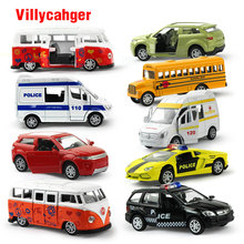 5Pcs/set 1:64 Pull Back Alloy Car Toy Openable Doors mini School Bus Ambulance Diecast Model Xmas Gift Educational Toys for kids