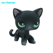 Short Hair Cat #336 action figure  girl's Collection classic animal pet LPS toys European kitty Black cat with green eyes