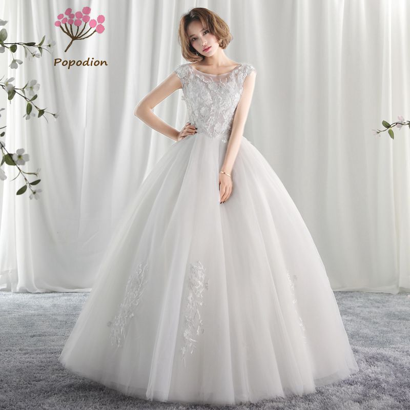 Popodion wedding dress lace wedding dresses  bride dress vestido de noiva WED90408