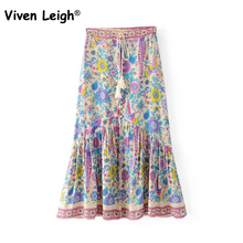 Hot Peacock Flower Print Tassel Lacing Waist Skirt Retro Bohemian Maxi Beach Skirts For Women Boho Hippie Style Long Skirt