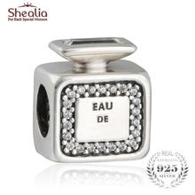 SHEALIA 925 Sterling Silver Signature Scent Perfume Bottle Charms Beads Fit Original Brand Logo Bracelet Mother's Day Gift 2017