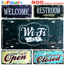 Wi-Fi Free Car License Metal Plate Vintage Home Decor Tin Sign Bar\Pub\Hotel Decorative Metal Sign Art Painting Metal Plaque
