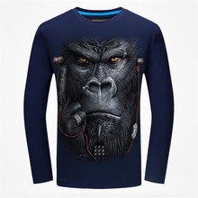 Autumn Mens 3D Animal Wolf Printed Pattern Long Sleeve O-neck T Shirts Fashion Cotton Slim Tops Tee Shirts For Male Black Blue(China)
