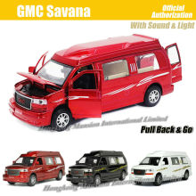 1:32 Scale Alloy Diecast Metal Car Model For GMC Savana Collection Model Pull Back Toys Car With Sound&Light-Red / White / Black