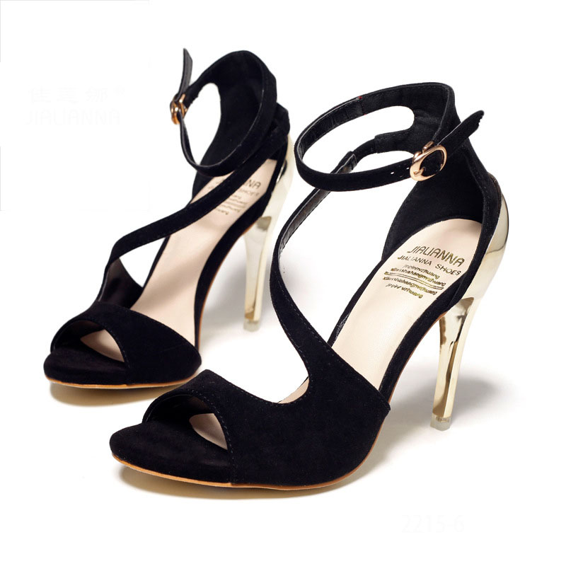Ladies High Qualities Peep Toe Buckle Stiletto High-heeled Sandals Women Shoes Red Black<br><br>Aliexpress
