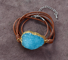 Exclusive Gilded Druzy Genuine Leather Bracelets Handmade Natural Stone Bohemia Women Bracelet Manufacturer Dropship