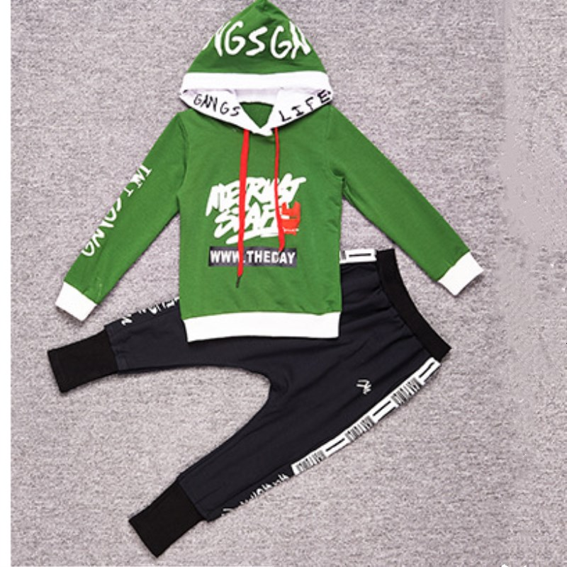 2018 Spring Boys Fashion T-shirt + Sweat Pants 2Pac Teenage Suit Sportswear<br>