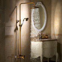 "Luxury Antique Brass Bathroom Shower Set Faucet Mixer 8"" Brass Shower Head"